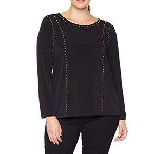 Calvin Klein Black Long Sleeve Gold Studded Top